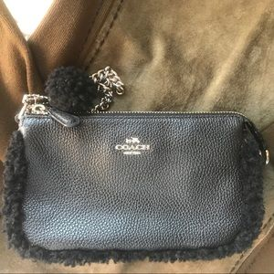 Coach Shearling Black Wristlet